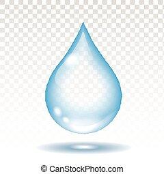 transparencia, gota, vector, realista, aislado, agua, ilustración