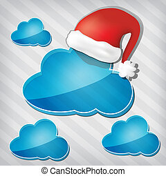 transparency blue clouds with santa