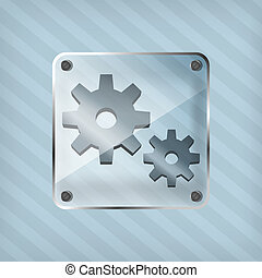 transparency icon with gear on striped background
