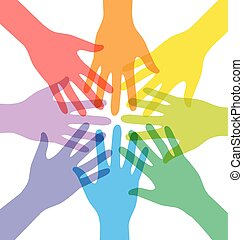 Transparency Many Teamwork People Join Colorful Hand