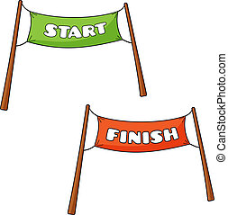 Vector illustration of transparency of Start and Finish in cartoon style