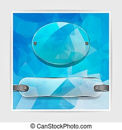 transparency plates on the Abstract blue geometric background wi