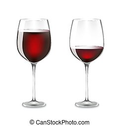 Transparency wine glass. almost Empty and full. 3d realism, vector icon