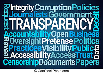 Transparency Word Cloud on Blue Background