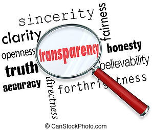 Transparency Word Magnifying Glass Sincerity Openness...