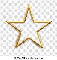 transparent, étoile, arrière-plan doré, isolé