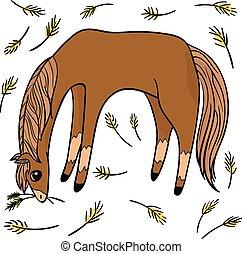 transparent., αστείος , θέτω , αντικείμενο , τέσσερα , αγνοώ , horses.