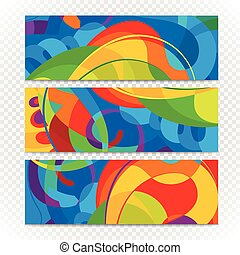 transparent., カラフルである, 抽象的な近代的な意匠, テンプレート, 旗
