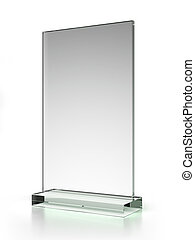 transparent ad plate isolated on a white background. 3d...