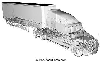 transparent American Truck Trailer
