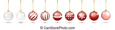 Transparent and Red Christmas ball set with snow effect set. Xmas glass ball on white background. Holiday decoration template. Red christmas balls isolated