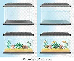 transparent aquarium vector illustration