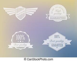 Transparent badges for best quality products