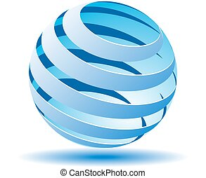 Transparent ball with blue lines in 3D. Vector illustration
