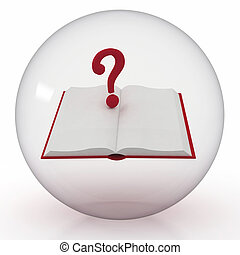 transparent ball with open book and question mark