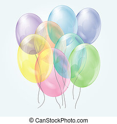 transparent balloons - bunch of colorful transparent...