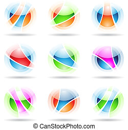 Vector EPS illustration of abstract design elements: vibrant, transparent, spheres isolated on white
