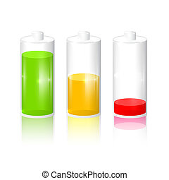 Transparent Battery Life Icon Set Isolated on Grey Background