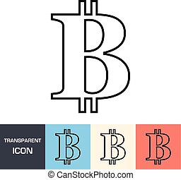 Transparent bitcoin sign icon. Vector icon on different types backgrounds, Eps 10