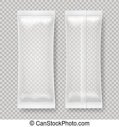 Transparent blank foil food package for snack,