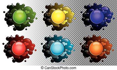 transparent, blots, arrière-plan coloré, isolé