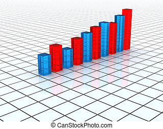 Transparent  blue and red graph bars