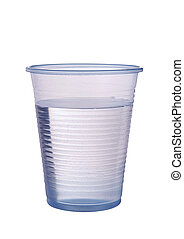 Transparent blue plastic cup of water isolated ver white -...
