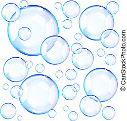 Transparent blue soap bubbles over white background