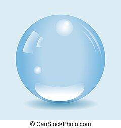 Transparent blue water drop