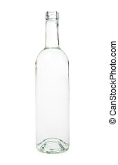 Transparent bottle on a white background