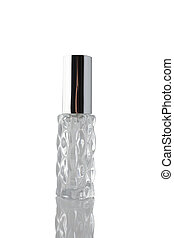 Transparent bottle with perfume isolated on white background.