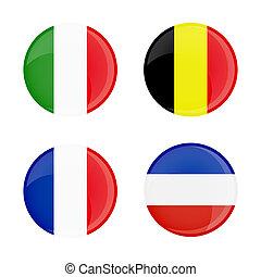 transparent, bouton, forme., verre, lustré, drapeaux, cercle