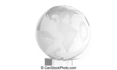 Transparent box and sphere with world map on it spin...