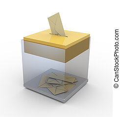 Transparent box with envelopes - 3d transparent ballot box....