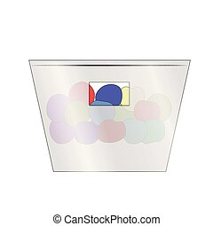 Transparent box with filling. Isolated on white background. vector illustration.
