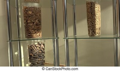 Transparent boxes with various kind of bio pellets ecological bio fuel