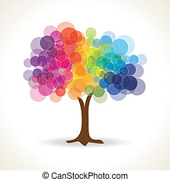 transparent bubble with tree shape - abstract vector for ...