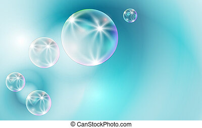 transparent bubbles on a blue background