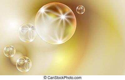 transparent bubbles on a golden background