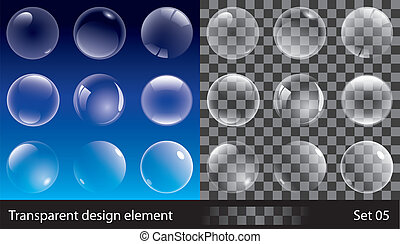 Transparent bubbles - Set of transparent bubbles. Vector...