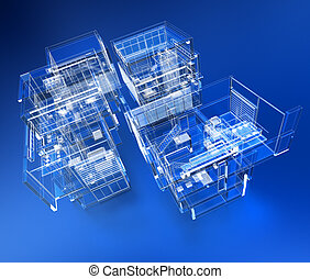 Transparent building - 3D rendering of a transparent ...