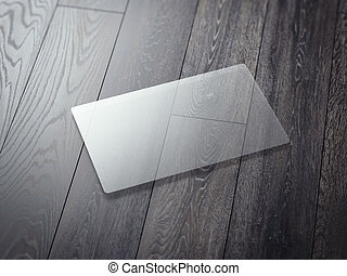 Transparent business card on a wooden floor. 3d rendering