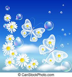 Transparent butterflies and daisy