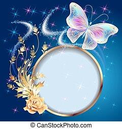 Transparent butterflies and frame