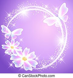 Glowing lilac background with transparent butterflies, flowers and sparkle stars