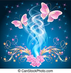 Transparent butterflies with floral ornament and firework