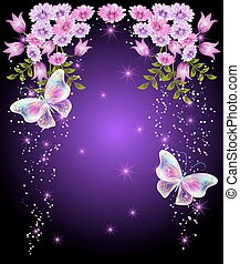 Transparent butterflies with flowers and stars - Flying...