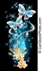 Transparent butterflies with golden ornament and glowing...