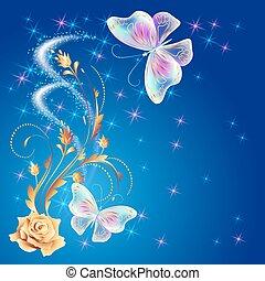 Transparent butterflies with golden