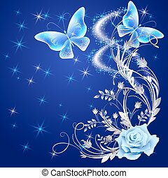 Transparent butterflies with rose - Transparent flying ...